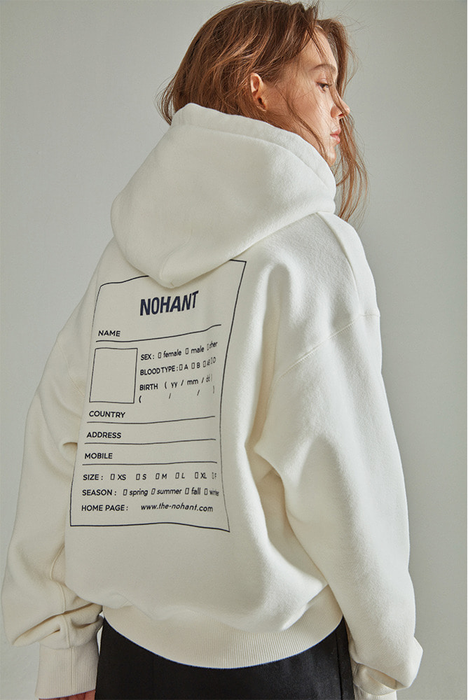 OVERSIZED NAME LABEL HOODIE IVORY