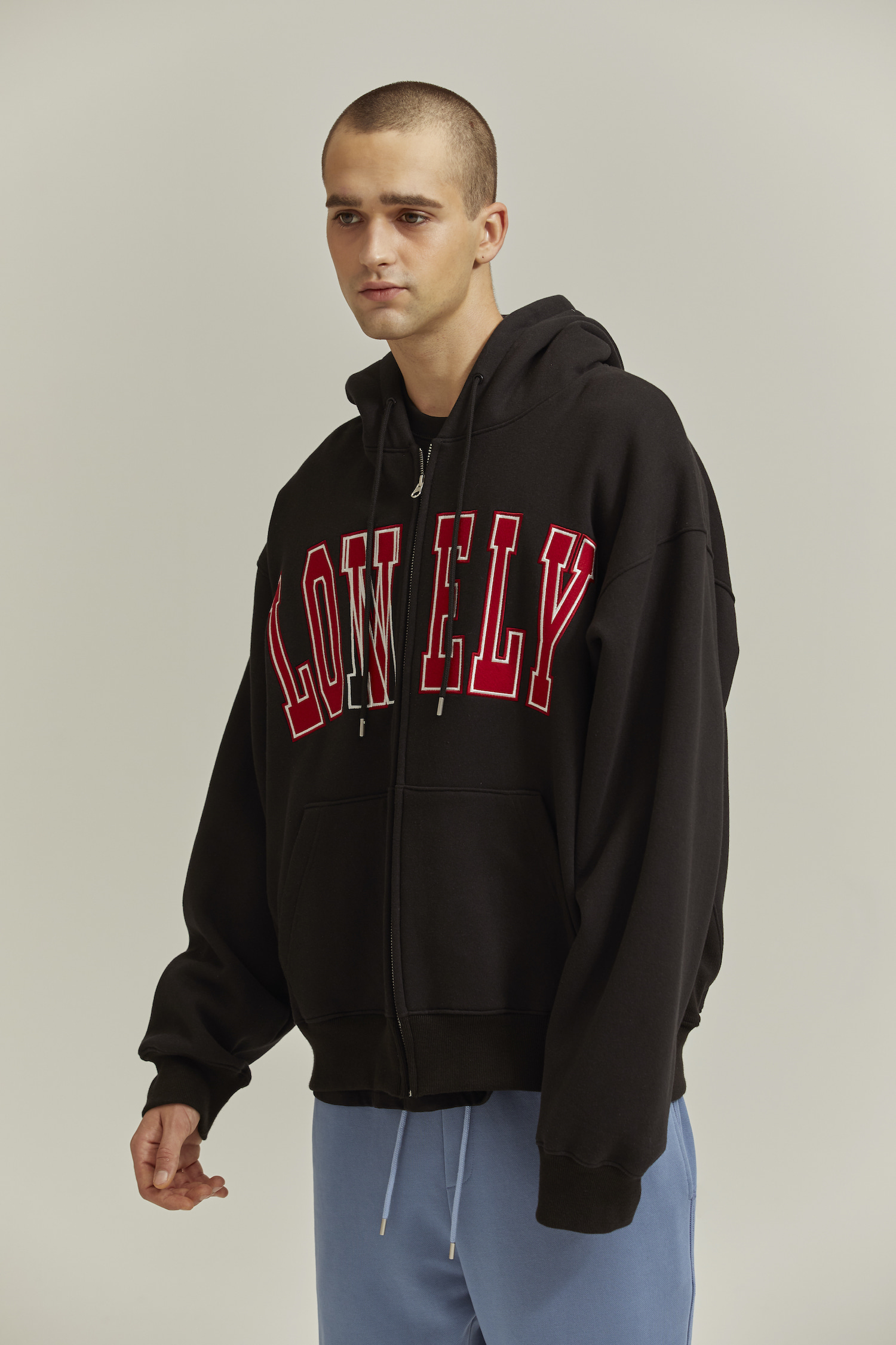 LONELY/LOVELY HOODIE ZIP-UP BLACK