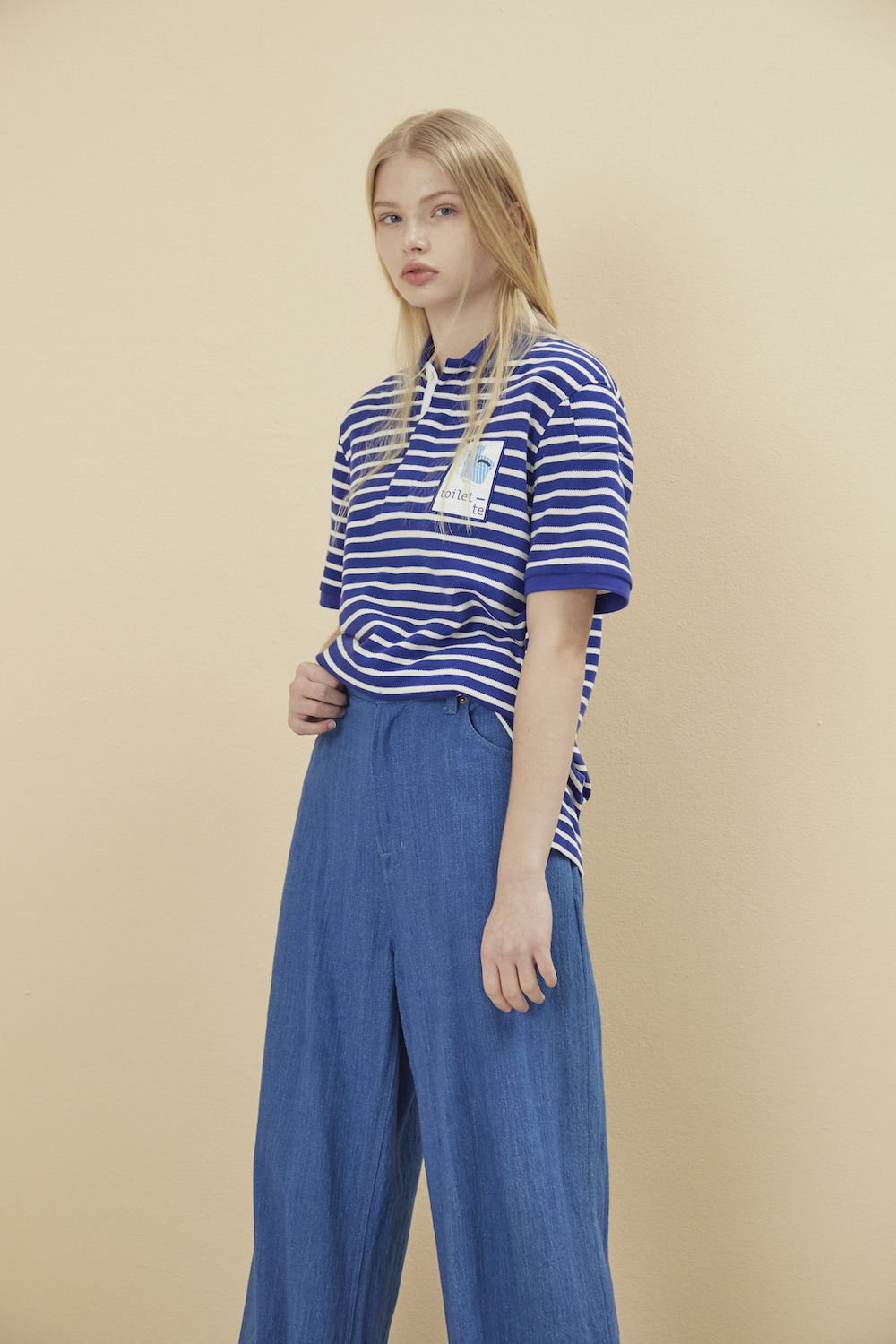 PADDED PIQUE SHIRT STRIPE-BLUE