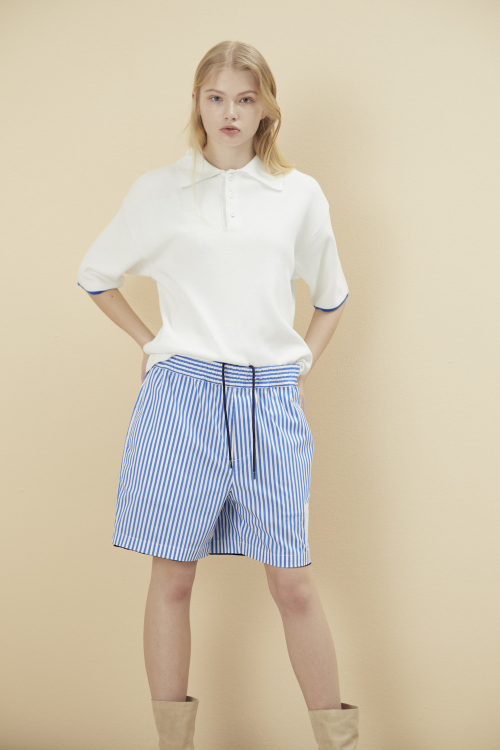KNITTED COLLAR PIQUE SHIRT WHITE
