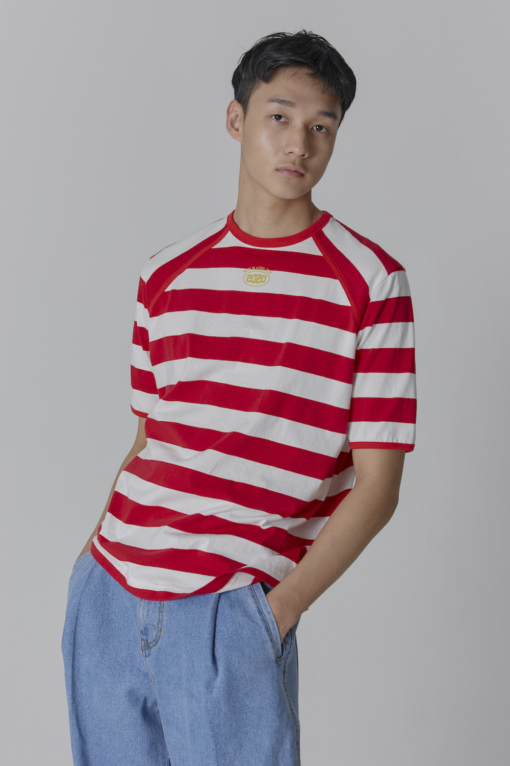 COLOR TAPING 2020 STRIPE T SHIRT RED