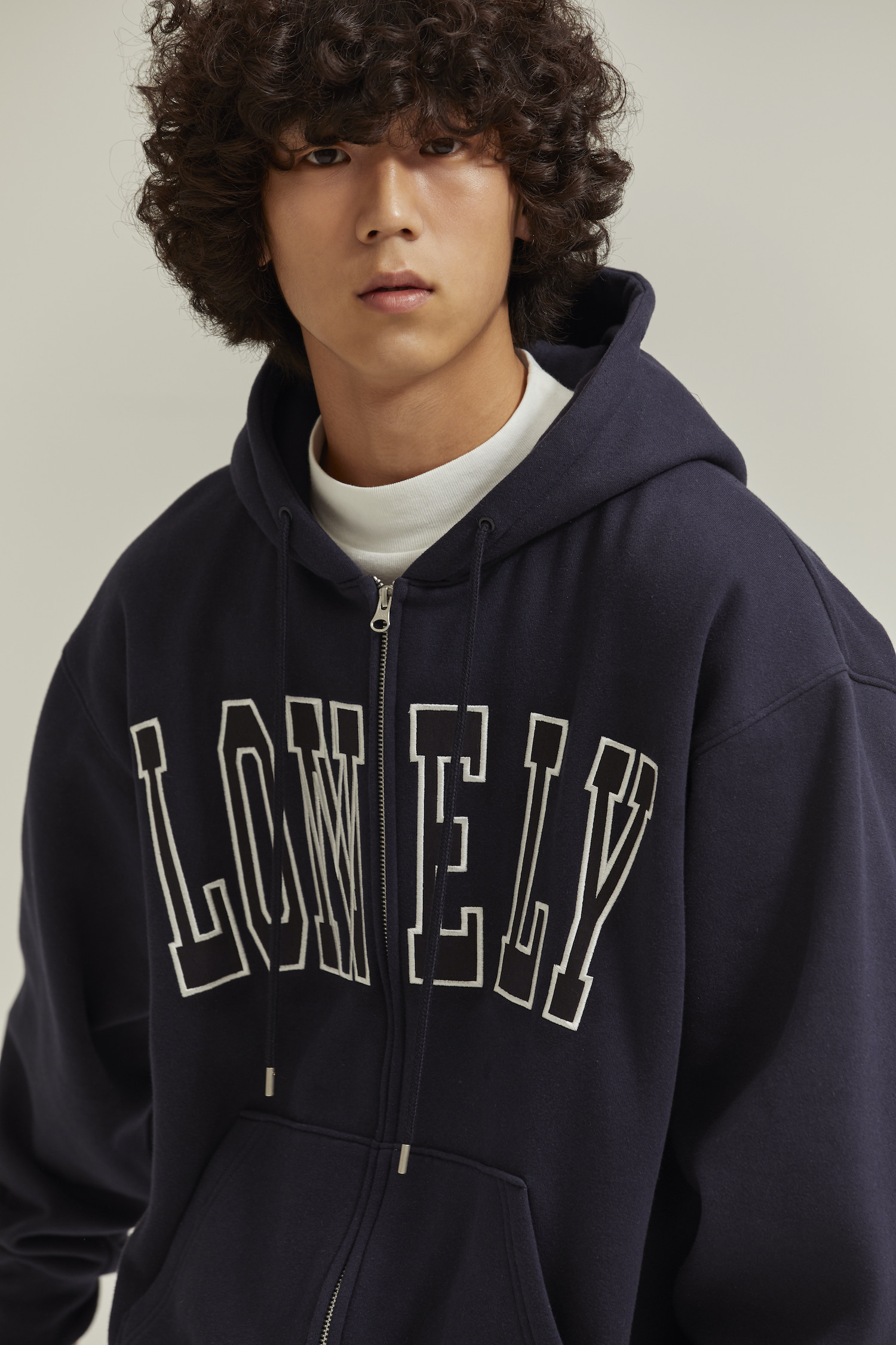 LONELY/LOVELY HOODIE ZIP-UP NAVY
