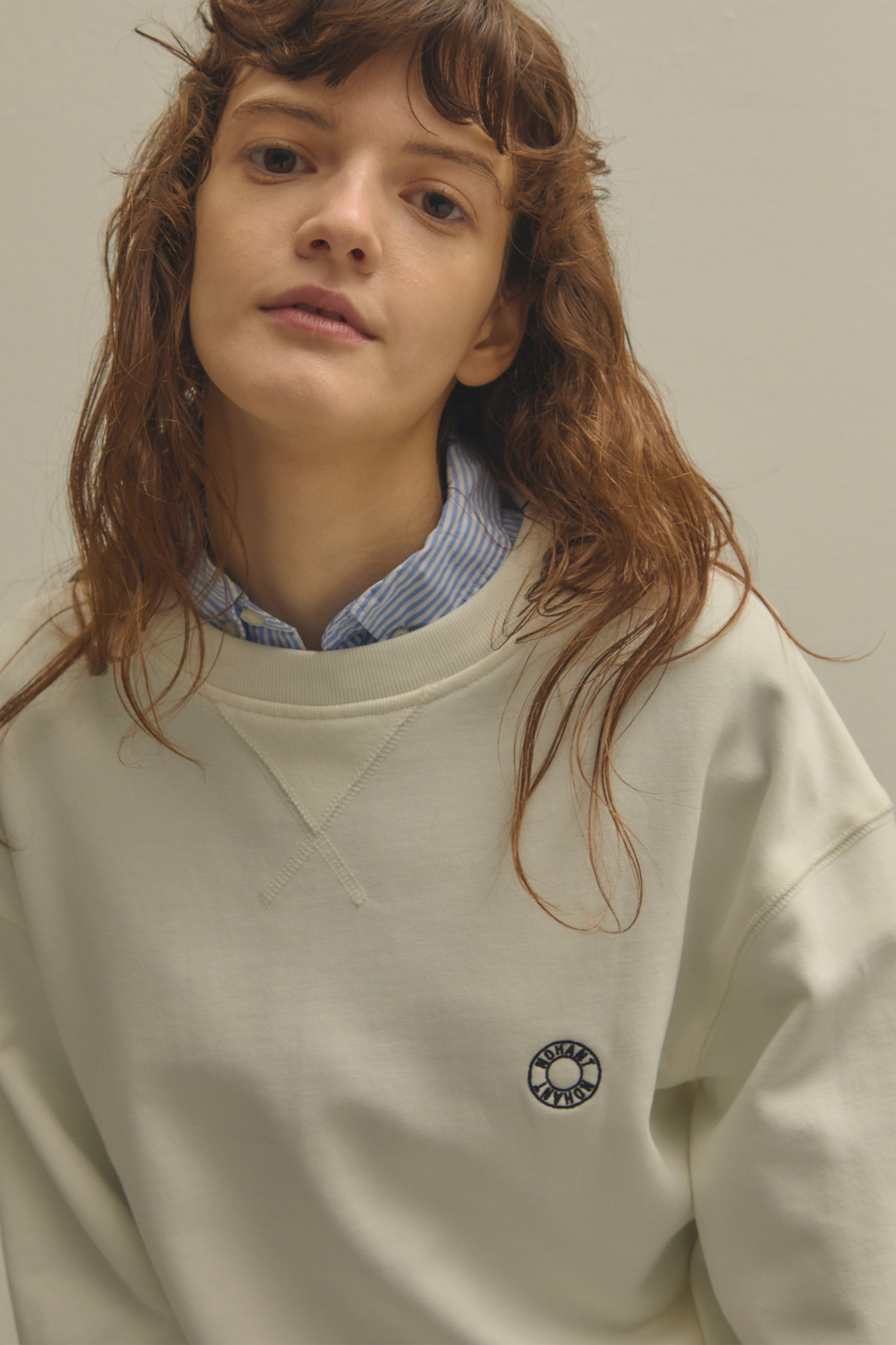 [3/8 예약배송] LOGO EMBROIDERY SWEATSHIRT WHITE